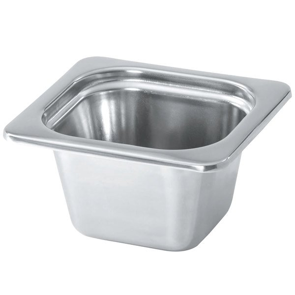 "Vollrath 8264205 Miramar® 1/6 Size Satin-Finished Stainless Steel Steam Table Food Pan - 4"" Deep Main Image 1"
