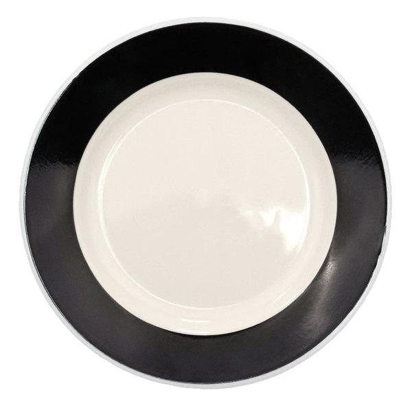 "CAC R-5-BLK Rainbow Plate 5 1/2"" - Black - 36/Case"