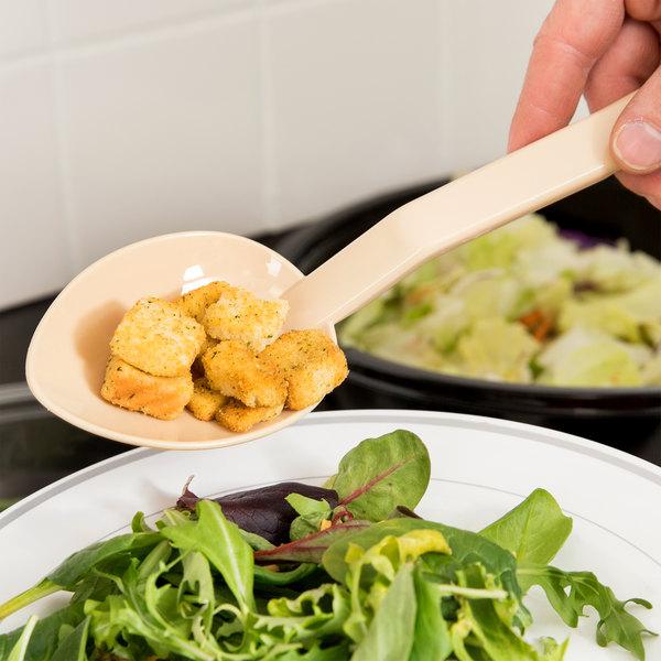 "11"" Beige Polycarbonate 1.5 oz. Solid Salad Bar / Buffet Spoon"