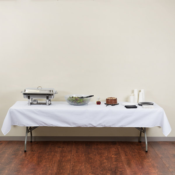 "54"" x 120"" Rectangular White Hemmed Polyspun Cloth Table Cover"