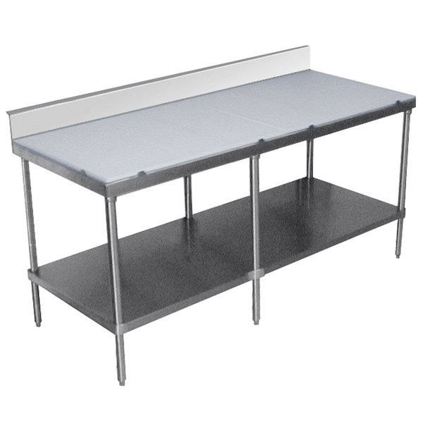 """Advance Tabco SPS-308 Poly Top Work Table 30"""" x 96"""" with Undershelf and 6"""" Backsplash"""
