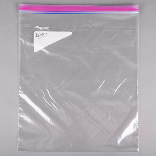 Ziploc® 682253 13 inch x 15 inch Two Gallon Storage Bag with Double Zipper and Write-On Label - 100/Case