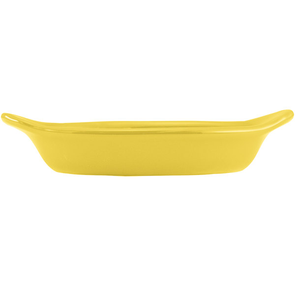 Hall China 30528320 Sunflower 12 oz. Colorations Oval Rarebit / Au Gratin Dish - 24/Case