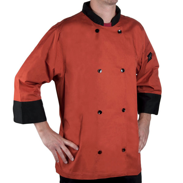 Chef Revival Bronze J134SP-2X Cool Crew Fresh Size 52 (2X) Spice Orange Customizable Chef Jacket with 3/4 Sleeves - Poly-Cotton