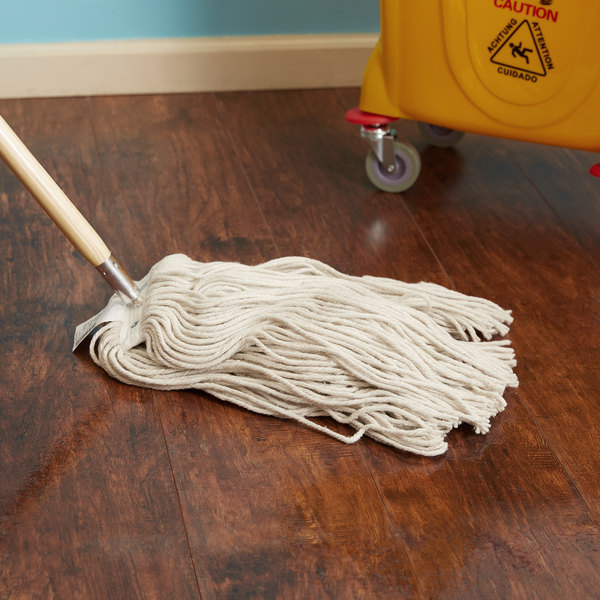 Continental Wilen A503324 24 oz. Cut End Natural Cotton Mop Head with Screw-On Band