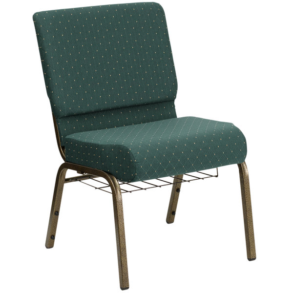 """Flash Furniture FD-CH0221-4-GV-S0808-BAS-GG Hunter Green Dot Patterned 21"""" Extra Wide Church Chair with Communion Cup Book Rack - Gold Vein Frame"""