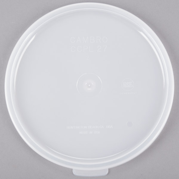 Cambro CCPL27148 1.5 Qt. and 2.7 Qt. White Round Clear Crock Lid Main Image 1