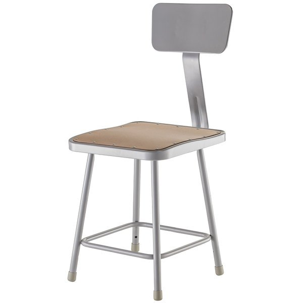 """National Public Seating 6318B 18"""" Gray Hardboard Square Lab Stool with Adjustable Back"""