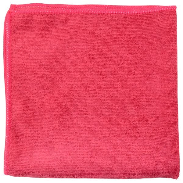"Unger MC40R SmartColor MicroWipe 16"" x 16"" Red Light-Duty Microfiber Cleaning Cloth - 10/Pack"
