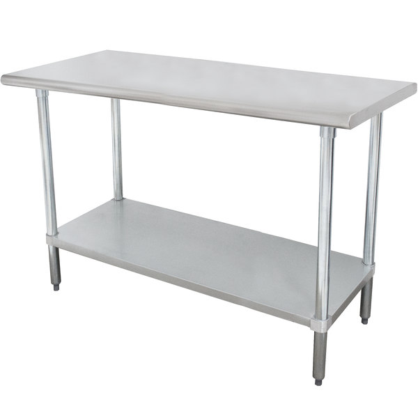 "Advance Tabco SLAG-245-X 24"" x 60"" 16 Gauge Stainless Steel Work Table with Stainless Steel Undershelf"