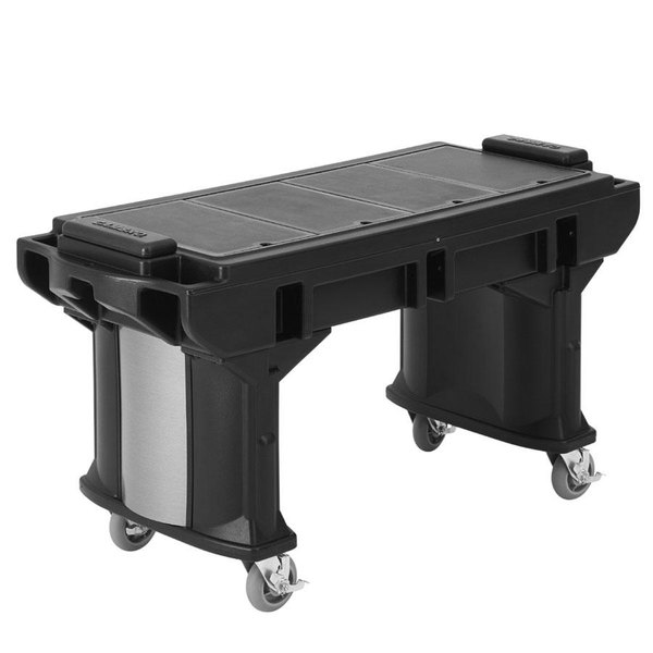 Cambro VBRTLHD6110 Black 6' Versa Work Table with Heavy Duty Casters - Low Height Main Image 1
