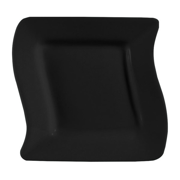 "CAC SOH-16BK Color Soho 10 1/2"" Black Square Stoneware Plate - 12/Case"
