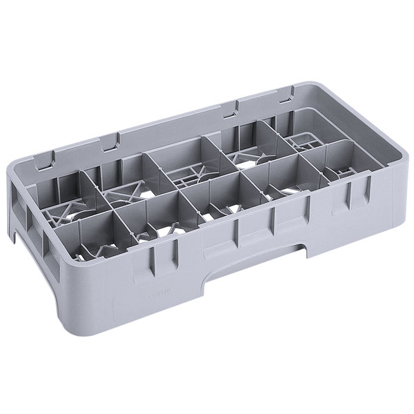 """Cambro 10HS434151 Soft Gray Camrack 10 Compartment 5 1/4"""" Half Size Glass Rack"""