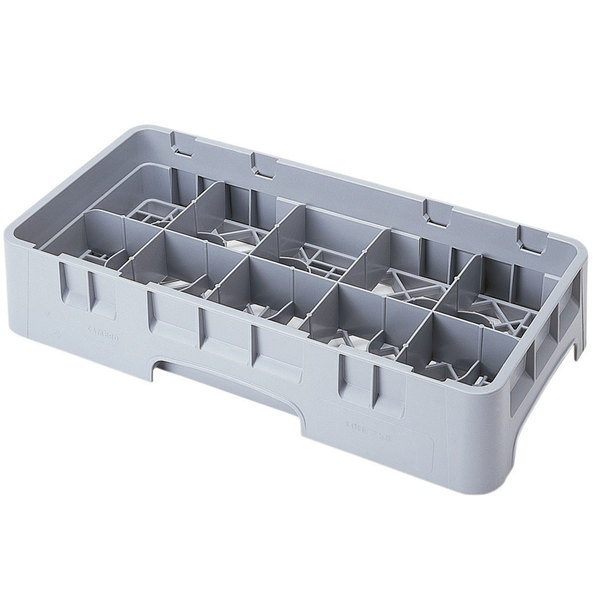 """Cambro 10HS434151 Soft Gray Camrack Customizable 10 Compartment 5 1/4"""" Half Size Glass Rack"""