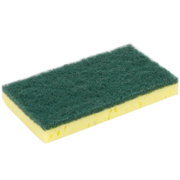 "Royal Paper S740 6"" x 3 1/2"" Sponge with Green Scrubber - 6/Pack"