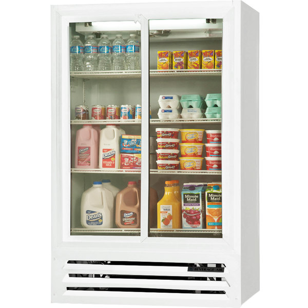 "Beverage-Air LV15HC-1-W 36"" White Lumavue Refrigerated Sliding Glass Door Merchandiser Main Image 1"