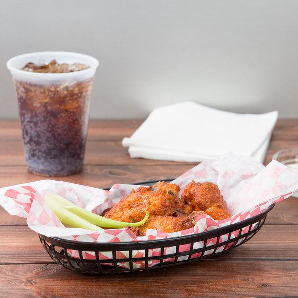 "9 1/4"" x 5 3/4"" Black Plastic Oval Fast Food Basket - 12/Pack"