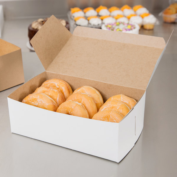 "10"" x 6"" x 3 1/2"" White Donut / Bakery Box - 10/Pack Main Image 4"