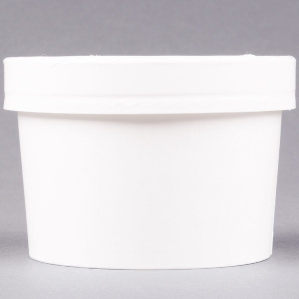 Huhtamaki Chinet 71842 White 8 oz. Double-Wall Poly Paper Soup / Hot Food Cup with Vented Paper Lid - 250/Case
