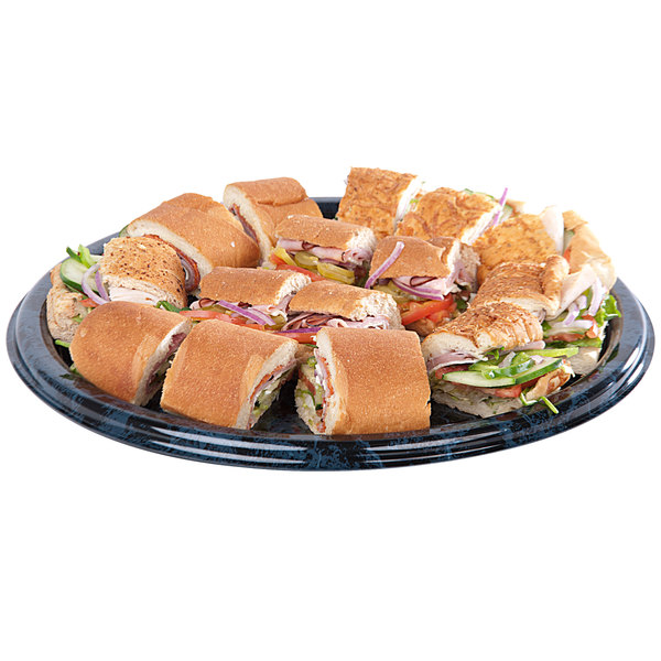 "Sabert 816 16"" Black Marble Round Catering Tray - 36/Case"