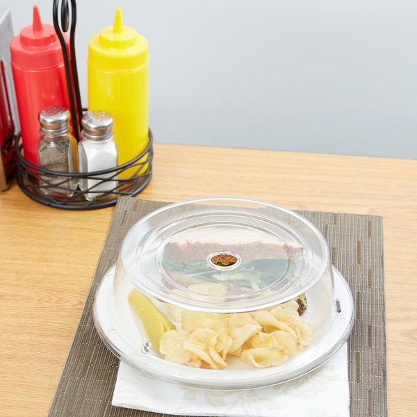 "Carlisle 196507 9 7/16"" to 9 3/4"" Clear Polycarbonate Plate Cover - 12/Case"