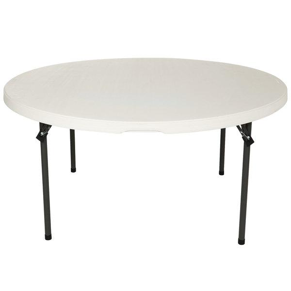 "Lifetime Round Folding Table, 60"" Plastic, Almond - 80435"