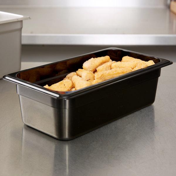 "Carlisle 3066103 StorPlus 1/3 Size Black Polycarbonate Food Pan - 4"" Deep Main Image 3"