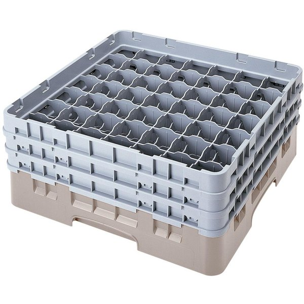 "Cambro 49S638184 Beige Camrack Customizable 49 Compartment 6 7/8"" Glass Rack"