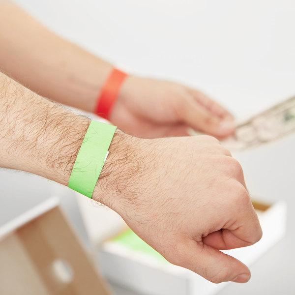 "3/4"" x 10"" Green Disposable Tyvek Wristband - 1000/Box"