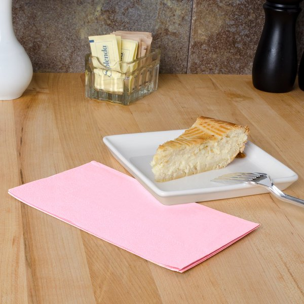 """Hoffmaster 180527 Pink 15"""" x 17"""" 2-Ply Paper Dinner Napkin - 1000/Case"""