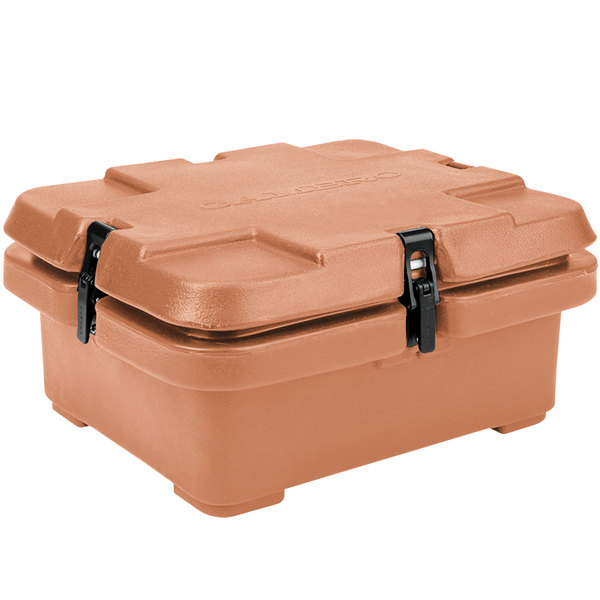 "Cambro 240MPC157 Camcarrier® Coffee Beige Top Loading 4"" Deep Insulated Food Pan Carrier Main Image 1"
