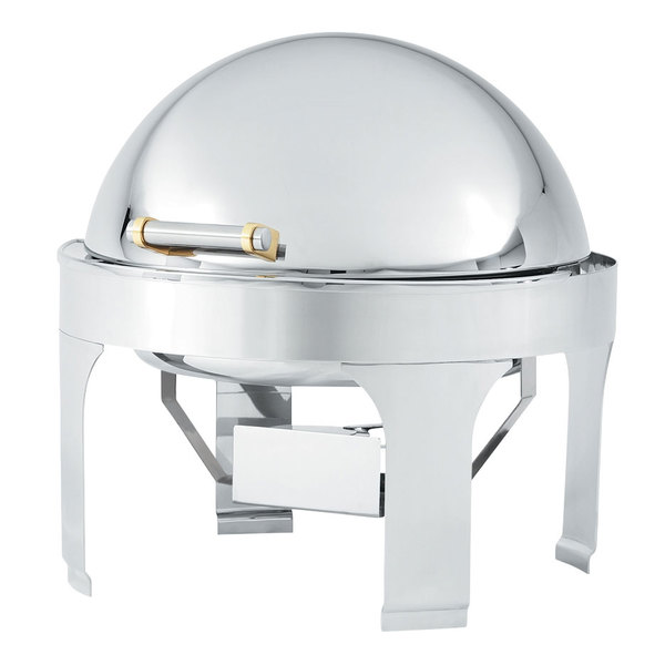 Vollrath 48765 6 Qt. Silverplated New York, New York Retractable Dripless Round Chafer with Brass Trim Main Image 1