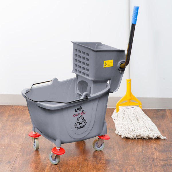 Lavex Janitorial 35 Qt. Gray Mop Bucket & Side Press Wringer Combo