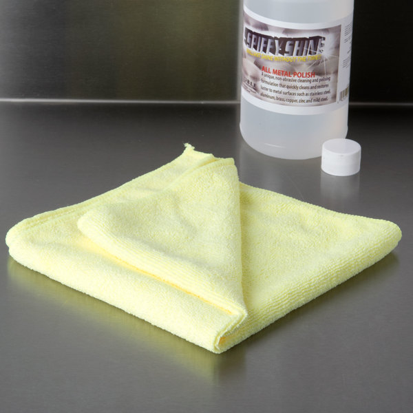 "16"" x 16"" Yellow Microfiber Cleaning Cloth - 12/Pack"