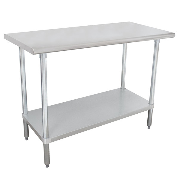 """Advance Tabco MSLAG-245-X 24"""" x 60"""" 16 Gauge Stainless Steel Work Table with Undershelf"""