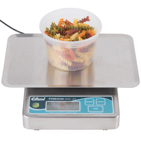 "Edlund WSC-20 OP Poseidon 20 lb. Waterproof Digital Portion Scale with Oversized 7"" x 8 3/4"" Platform"