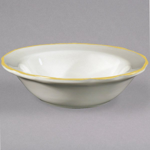 CAC SC-11G 5 oz. Seville Ivory (American White) Scalloped Edge China Fruit / Monkey Dish with Gold Band - 36/Case