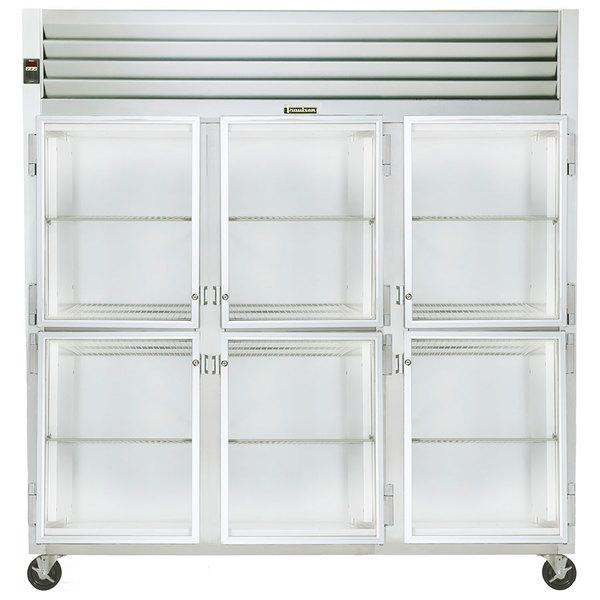 Traulsen G32000 3 Section Glass Half Door Reach In Refrigerator - Left / Right / Right Hinged Doors