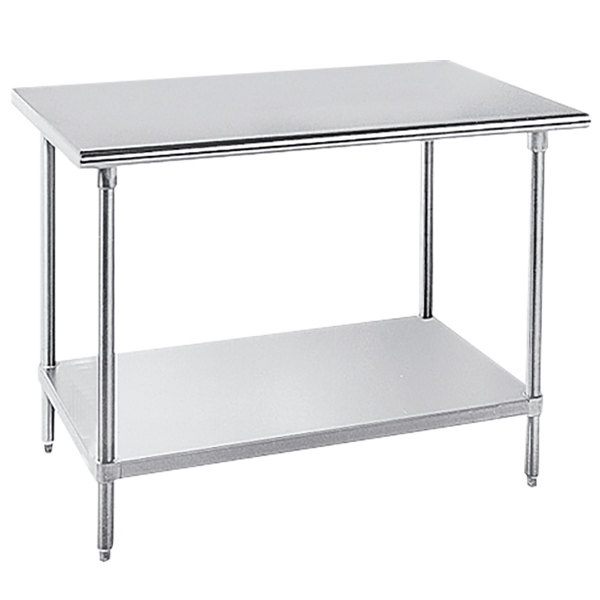 """Advance Tabco AG-246 24"""" x 72"""" 16 Gauge Stainless Steel Work Table with Galvanized Undershelf"""