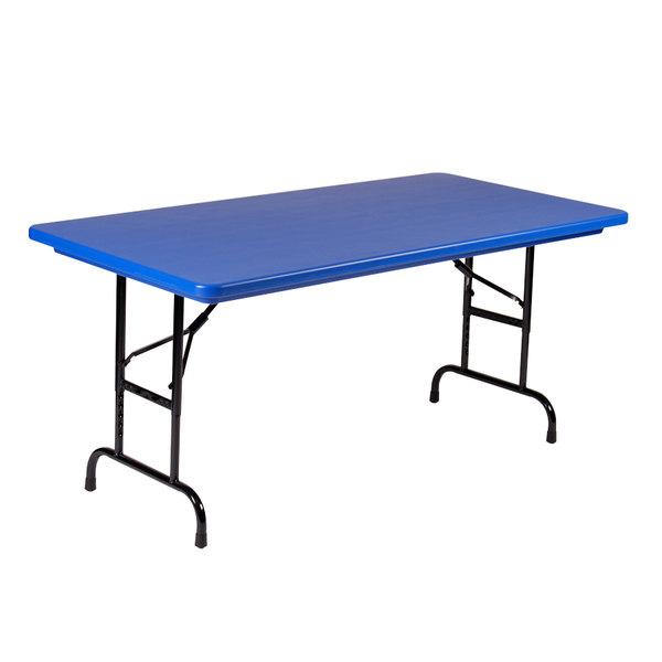 "Correll R-Series R3060 30"" x 60"" Blue Plastic Folding Table"