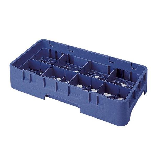"Cambro 8HS800186 Navy Blue Camrack Customizable 8 Compartment Half Size 8 1/2"" Glass Rack Main Image 1"