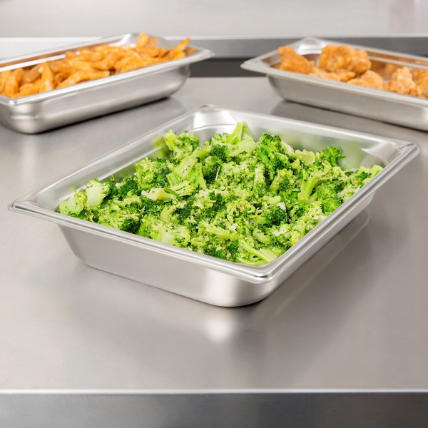 """Vollrath 30222 Super Pan V® 1/2 Size Anti-Jam Stainless Steel Steam Table / Hotel Pan - 2 1/2"""" Deep"""
