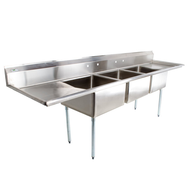 "Regency 121"" 16-Gauge Stainless Steel Three Compartment Commercial Sink with 2 Drainboards - 23"" x 23"" x 12"" Bowls"
