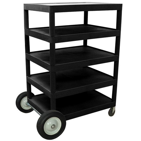 "Luxor BCB55-B Black 5 Shelf Serving Cart - 24"" x 32"" x 49"""