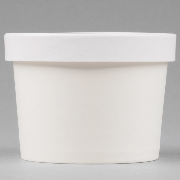 Choice 12 oz. Double Poly-Coated White Paper Soup / Hot Food Cup with Vented Paper Lid - 250/Case