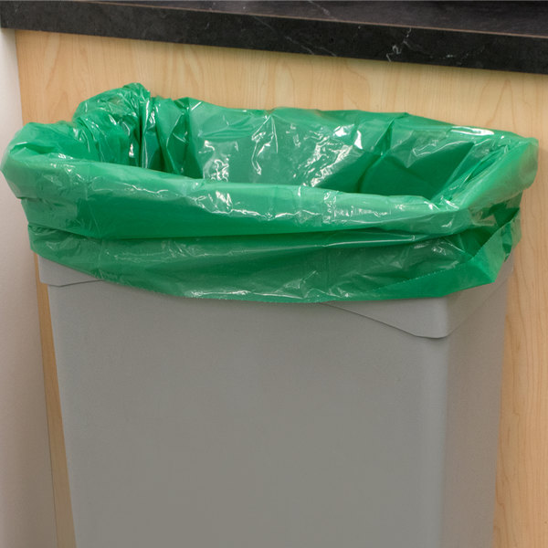 "55 Gallon Recycled 1.25 Mil 38"" X 58"" Low Density Trash Can Liner / Bag - 100/Case"