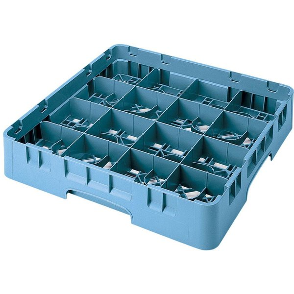 """Cambro 16S738414 Camrack 7 3/4"""" High Customizable Teal 16 Compartment Glass Rack"""
