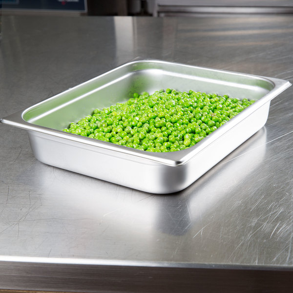 """Choice 1/2 Size Standard Weight Anti-Jam Stainless Steel Steam Table / Hotel Pan - 2 1/2"""" Deep"""