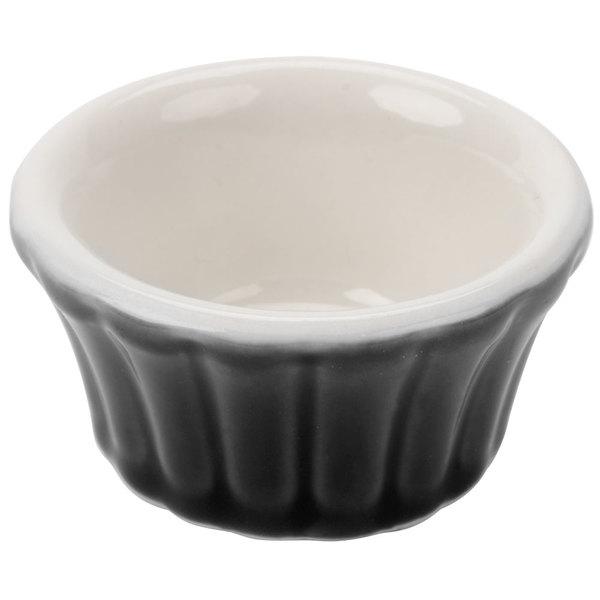 Hall China 30832W101 Black 4 oz. Flared Ramekin Dish - 24/Case
