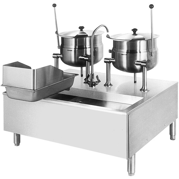 Cleveland SD-1050-K66 (2) 6 Gallon Tilting 2/3 Steam Jacketed Direct Steam Kettles with Modular Stand Main Image 1